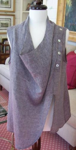 Designer Chalet Linen Vest Top Blouse Medium Made in U s A New | eBay