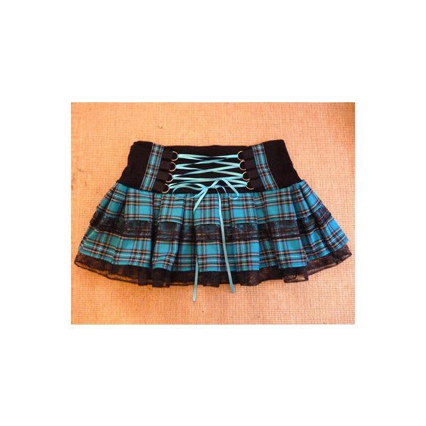 Turquoise Blue Tartan Punk Mini Skirt ($48) ❤ liked on Polyvore featuring skirts, mini skirts, plaid miniskirts, blue skirt, short plaid mini skirt, tartan mini skirt and lace up skirt