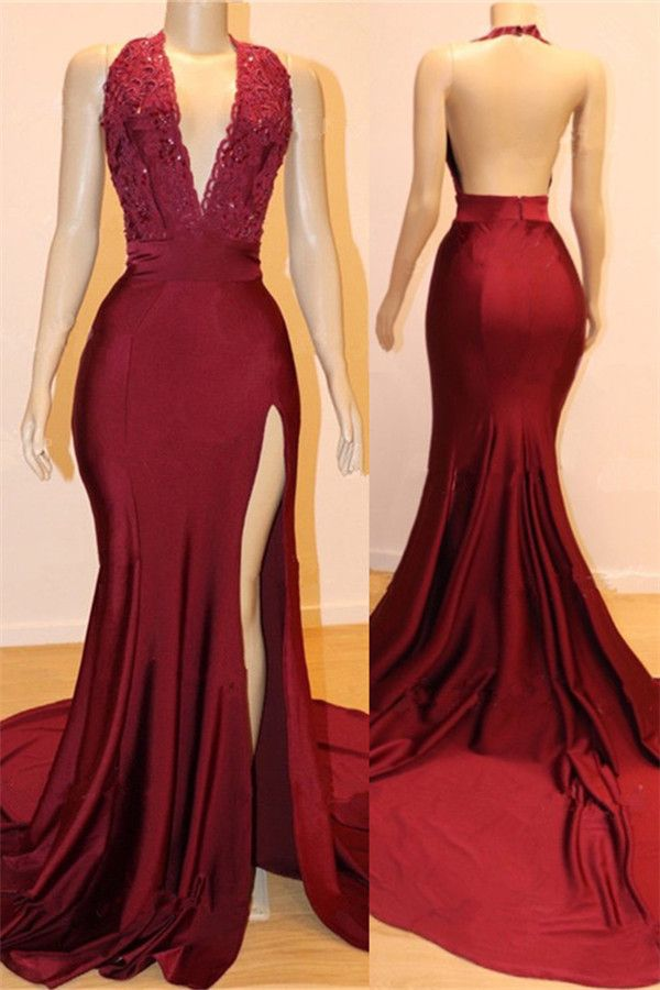 Sexy Backless Burgundy Prom Dresses with Slit