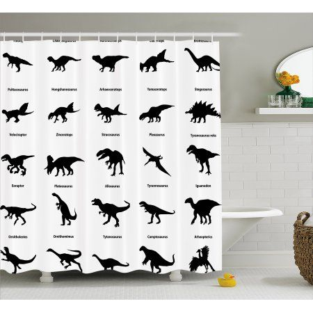 Dinosaur Shower Curtain Collection Of Different Dinosaurs Silhouettes With Their Names Evolution Wildlife Fabric Bathroom Set Hooks 69W X 75L Inches