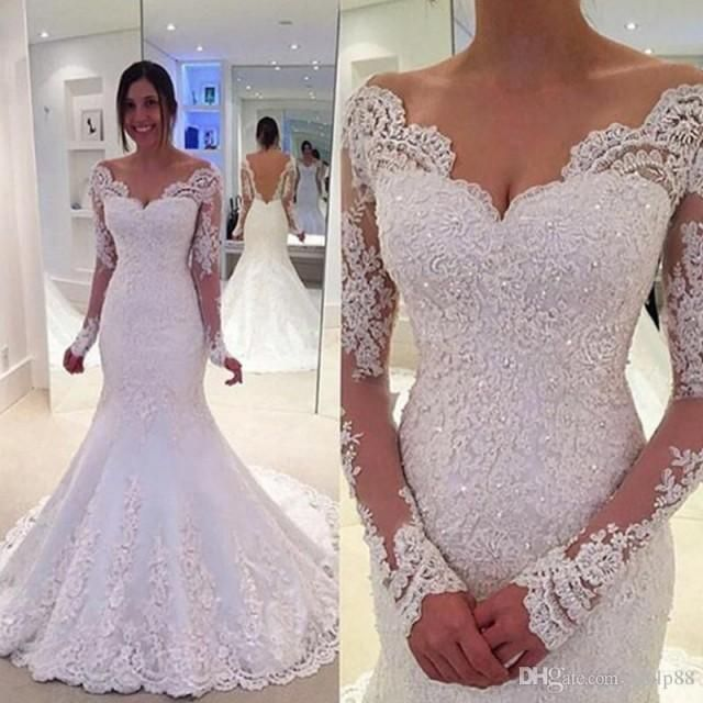 2017 Country Wedding Dresses Off The Shoulder Long Sleeves Mermaid Backless Bridal Gowns Lace Sweetheart Vestido De Noiva De Renda Lace Online with 165.72/Piece on Hjklp88's Store