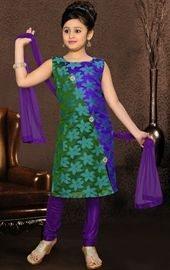 Picture of Lush Deep Purple and Green Color Kids Salwar Kameez