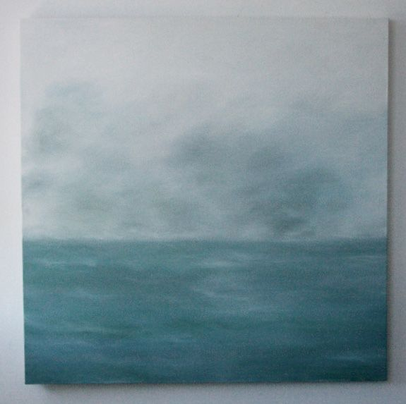 Sage seascape  oil on canvas, painting by Gabi lee www.gabilee.co.za
