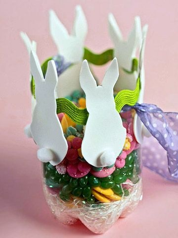 Canasta hecha con una botella: Pop Bottle, Plastic Bottle, Bunnies Easter, Ribbons Crafts, Easter Crafts, Bunnies Buckets, Kids Crafts, Sodas Bottle, Easter Baskets
