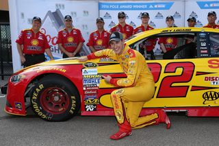 Joey Logano has won the pole for the NASCAR Sprint Cup race at Michigan International Speedway.