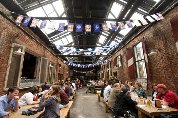 Radegast Hall & Bier Garten ~ Williamsburg Brooklyn NYC. Indoor and outdoor, beers, beers and more beers. Plus awesome german style sausages cooked in front of you and a killer steak for 2.