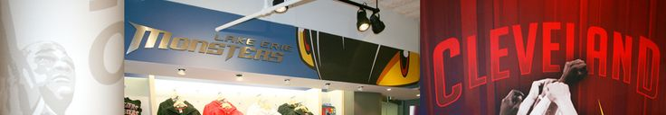 Cav's Team Shop, Cleveland, OH: The new Cleveland Cavalier team shop selected HD Walls to print various soffitt graphics and column graphics.