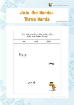 "In the ""Join the Words"" worksheets, the student must join the words in the order that they are listed at the top of the page.  Available at www.visuallearningforlife.com on the Visual Perceptual Sight Words Builder 1 CD."