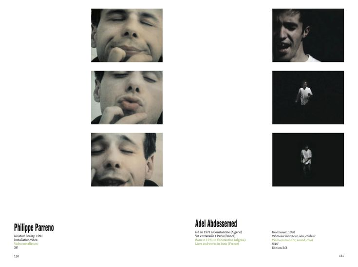 Philippe Parreno No More Reality, 1991 Video installation 38' Adel Abdessemed Born in 1971 in Constantine (Algeria) Lives and works in Paris (France) Un cri court, 1998 Video on monitor, sound, color 8'44'' Edition 2/3