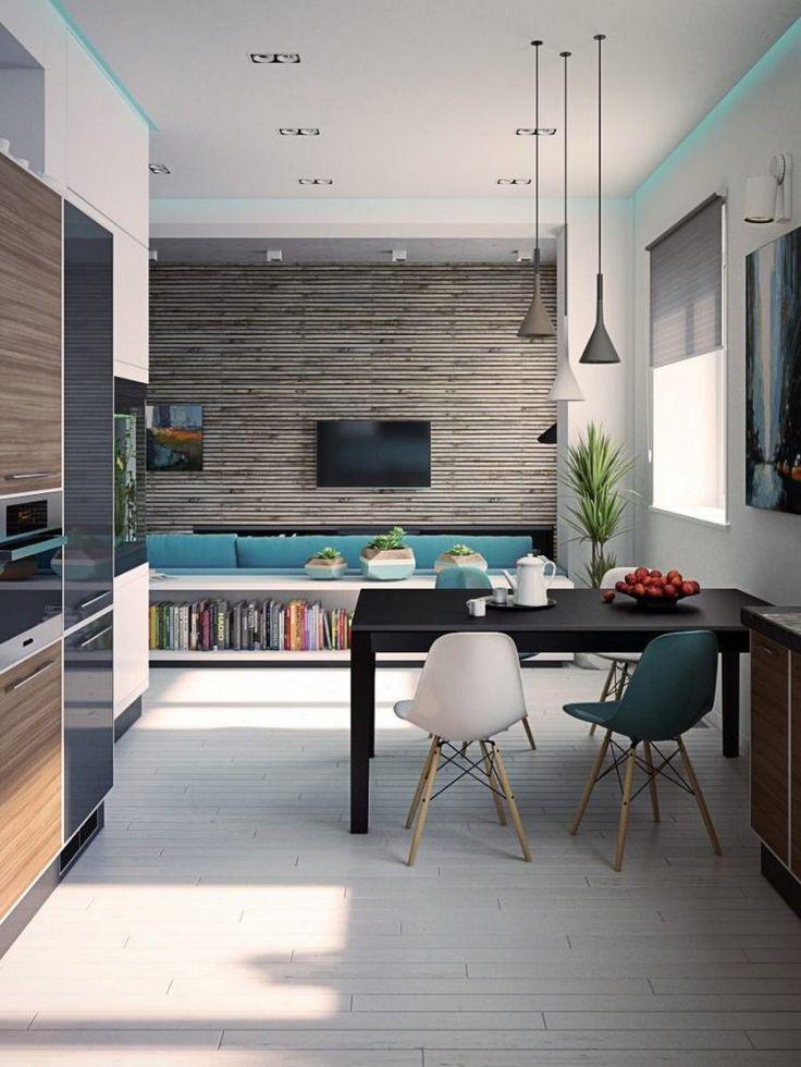 Modern konyha, kék, fehér, fa, szürke és fekete színek kombinációjával
