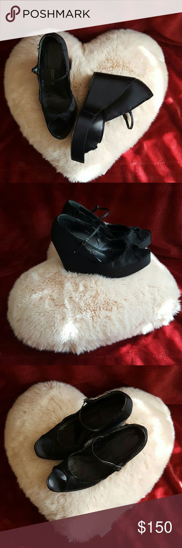 Pedro Garcia Satin Wedge Pedro Garcia Satin wedge Mary Jane . Really goregeous shoes . Beautiful with an all black suit and a white crisp shirt for dressy evening out . Very classy Pedro Garcia  Shoes Wedges