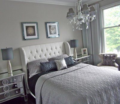 Modern Hollywood Glam Style Bedroom. light grey walls, white bedding, silvers and light blues.