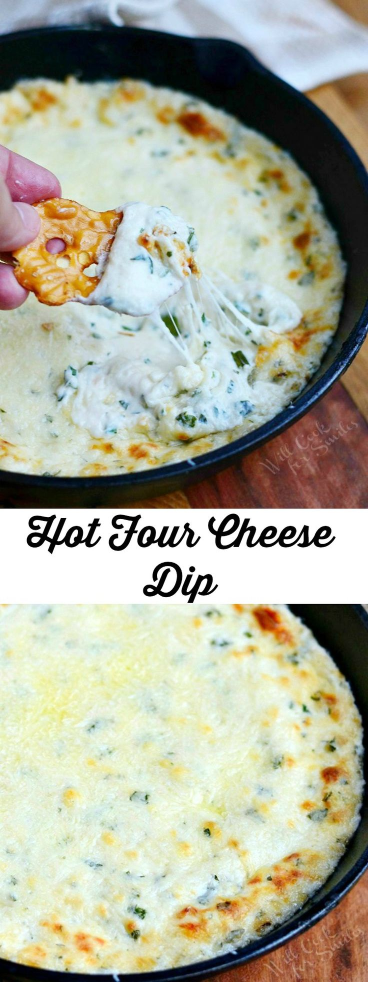 Hot Four Cheese Dip | from willcookforsmiles.com (Melted Cheese Chips)