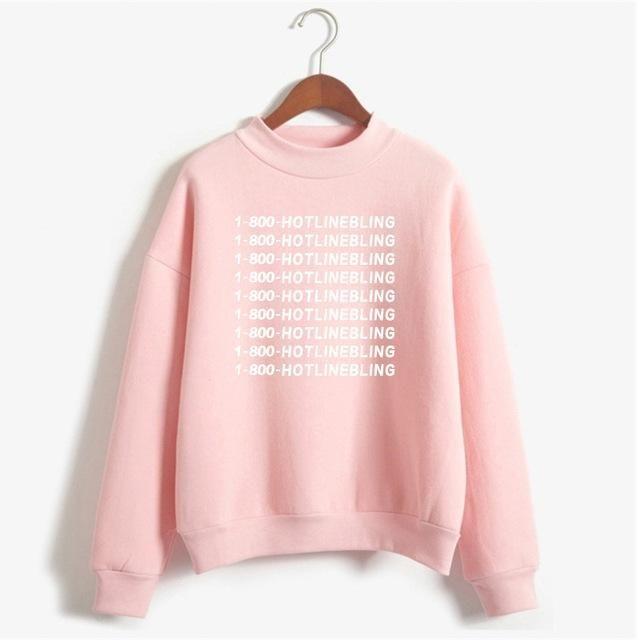 1-800 Hotline Bling Drake Light Pink Sweatshirt Hoodies Women Winter Cotton Fleece Letter Pullovers Jumpers Plus Size Tops