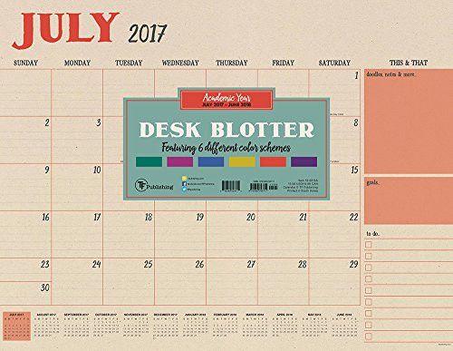 2018 Academic Year Kraft Desk Blotter July 2017-June 2018