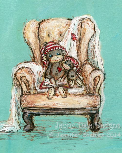 "Sock Monkey Art, Nursery Art, Nursery Decor- ""Cozy Chair"" Two Sock monkeys Reading: Art print"