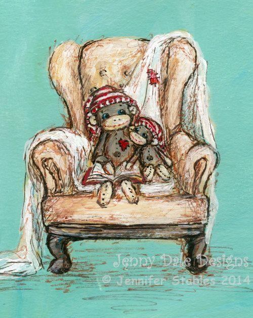 Sock Monkey Nursery Art and Decor Cozy by JennyDaleDesigns, $23.00