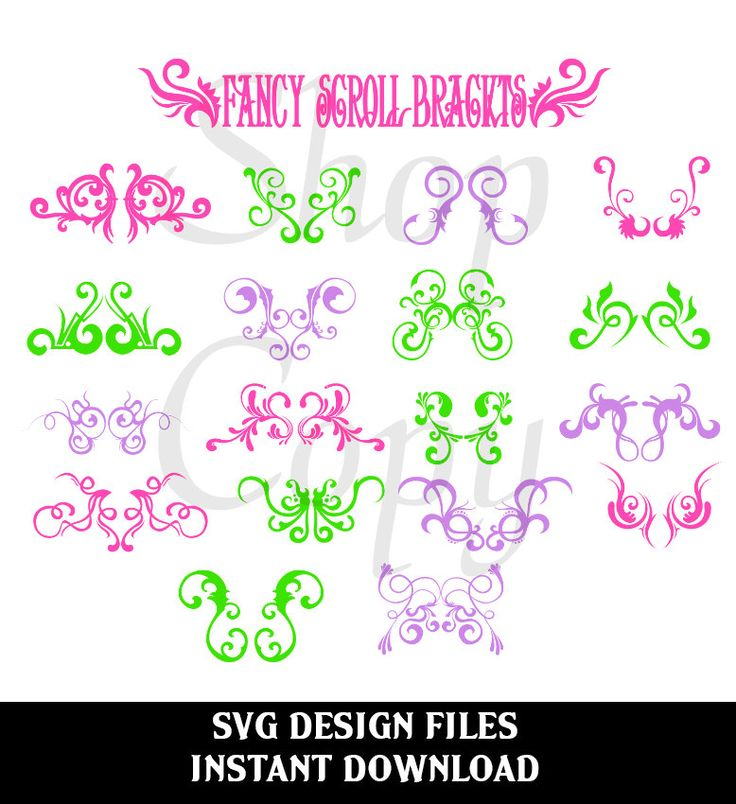 Fancy Scroll Brackets SVG File Digital Design Files used for Vinyl cutting and Silhouette Cameo Software Scrolls and Flourishes by svgDesignFiles on Etsy