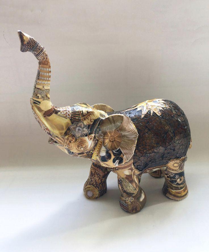 Brown And Gold Elephant Unique Elephant Decoupaged Elephant Elephant Home Decor Elephant Figurine Elephant Shiny Elephant