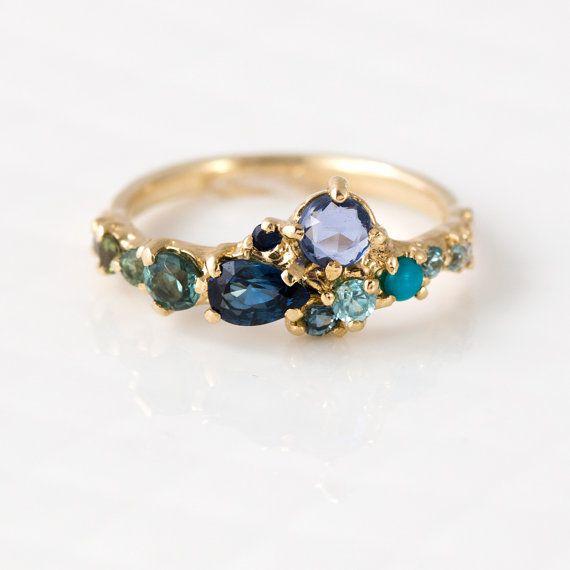 Ocean Blue Cluster Ring in 14K Yellow Gold - Zircon, Turquoise, Sapphire, Tourmaline, Cognac & White Diamonds