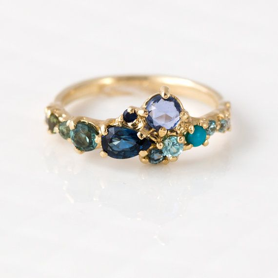 Ocean Blue Cluster Ring with Zircon, Turquoise, Sapphire, Tourmaline, Cognac & White Diamonds in 14K Yellow Gold  by MelanieCaseyJewelry $2800