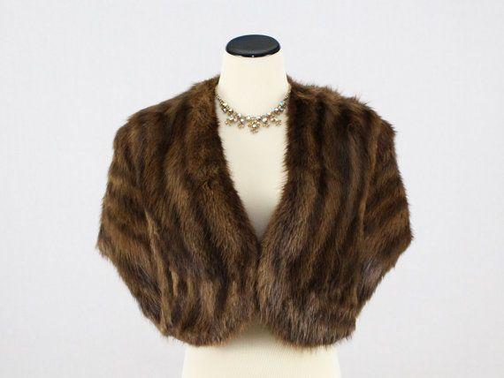Muskrat Fur Stole  Brown Fur Cape  Vintage by TheBirdcageVintage