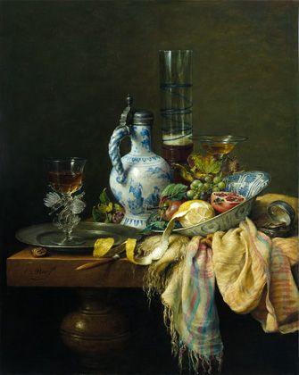 Stilleven met Delftse kruik, oil by Cornelius le Mair, 2004