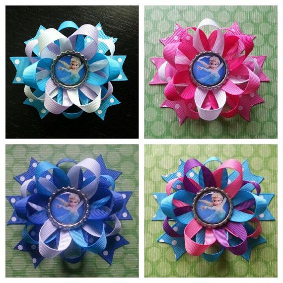 4 Elsa Frozen hair bows also available for Anna... by bellecaps, $19.00