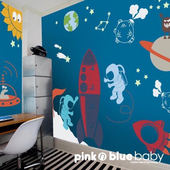 Outer space playroom decal for kids nursery wall decal for Space themed curtains