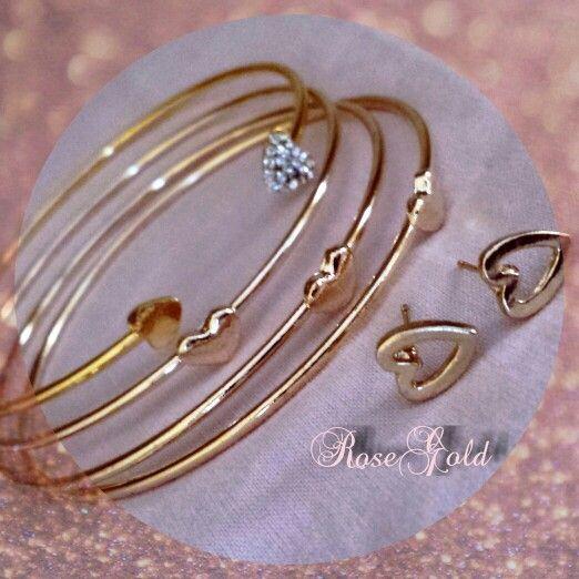 Bangle gold heart Shop on: https://m.facebook.com/RoseGoldBijoux