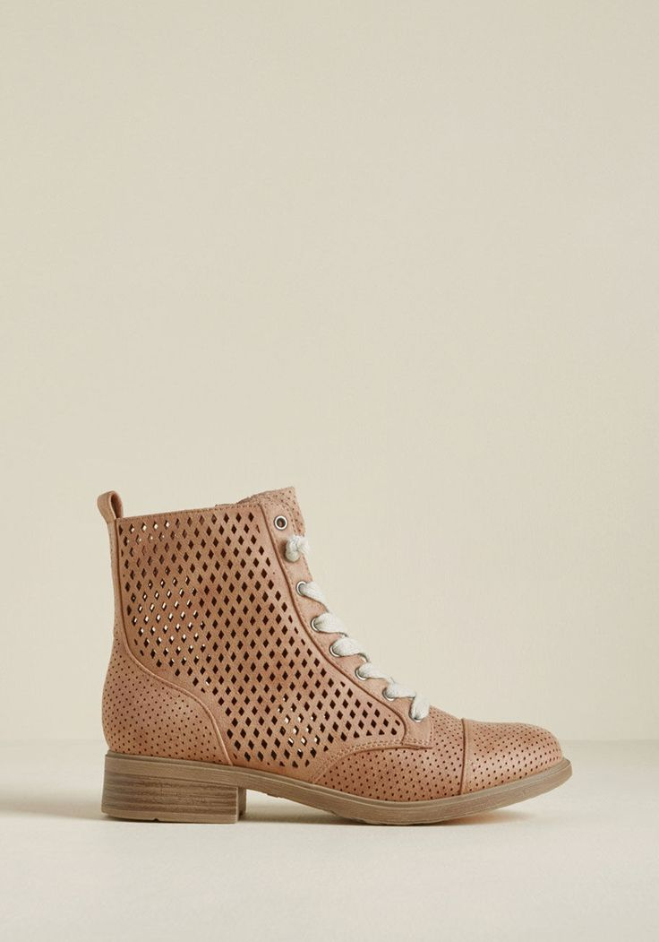 Airy Step You Take Cutout Boot - The trot you deliver in these cutout boots from Report Footwear certainly won't go unnoticed! Amplifying the classic lace-up silhouette of this faux-suede pair is a chic combination of geometric cutouts and a dusty rose hue, resulting in a look that begs to be adored and documented at every outing.