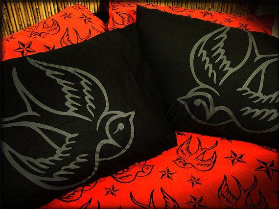 Swallows Pillow Case Set, Rockabilly , Punk Pillow Set