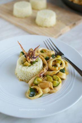 Calamari e zucchine alla curcuma con sformati di riso basmati