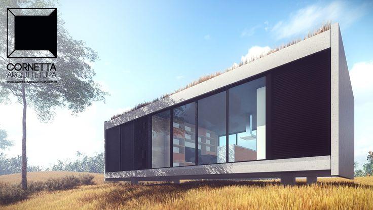 Projeto para residência compacta de 75 m2 com duas suítes utilizando componentes pré-moldados de concreto.  #cornetta #arquitetura #prefab #precast #concreto #concrete #smallhouse