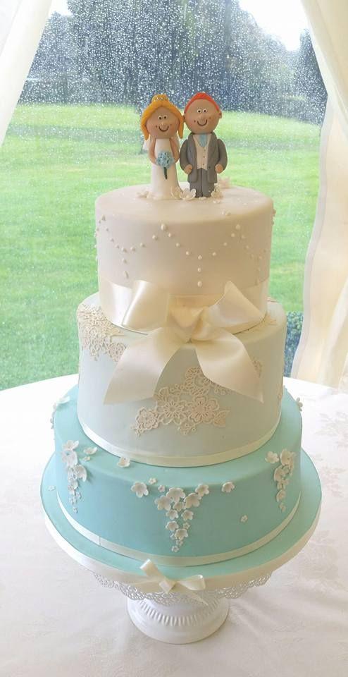 Ivory and Turquoise Vintage Wedding Cake
