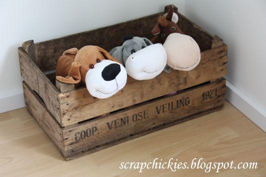 Babykamer Jongen Nursery Boy Houten veiling krat voor speelgoed