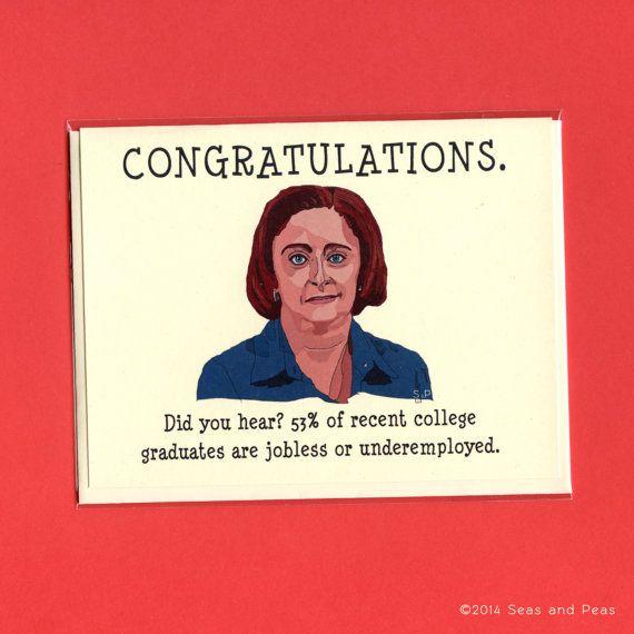 DEBBIE DOWNER GRADUATION  Funny Graduation Card  by seasandpeas
