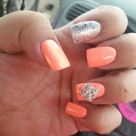 Corral nails with glitter and diamonds