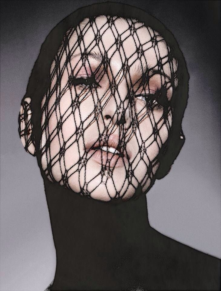 Fishnet over face
