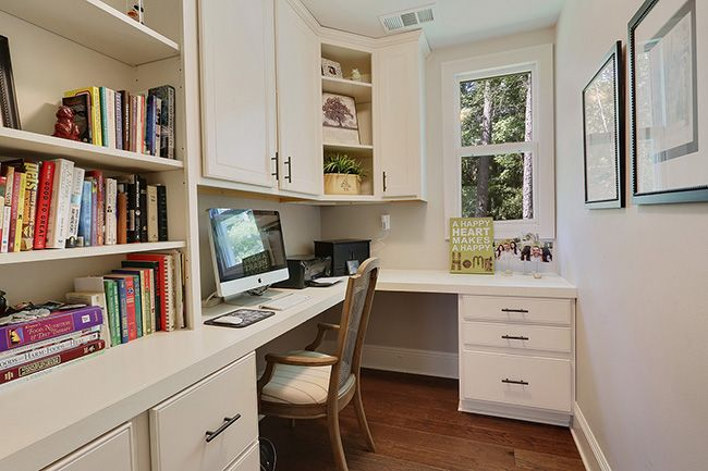 Private downstairs office area, complete with built-in's and nooks for family photos.