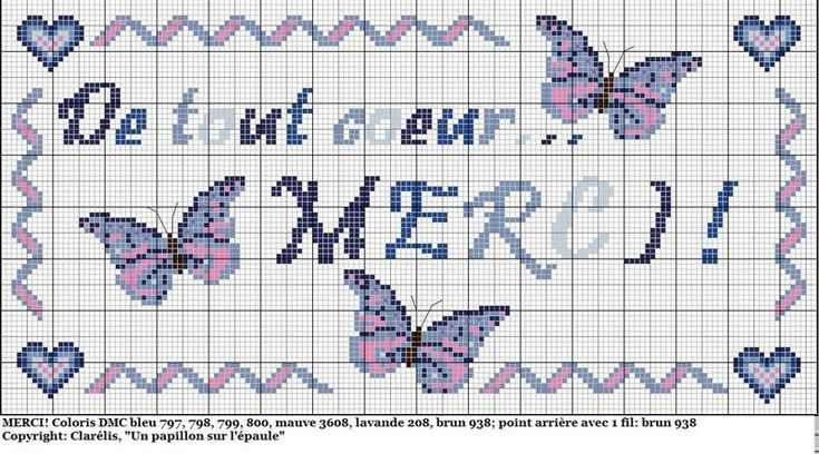 Merci - thank you - point de croix - cross stitch - Blog : http://broderiemimie44.canalblog.com/