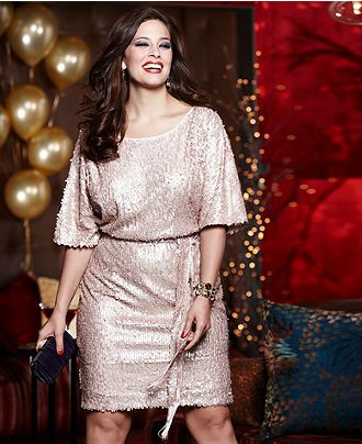 Holiday Style Guide Plus Size Sparkle & Shimmer Sequin Blouson Look - Junior Plus Size - Plus Sizes - Macy's    This dress is absolutely GORG