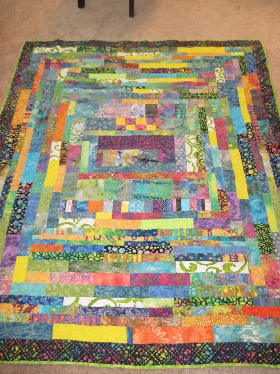 Batik throw quilt