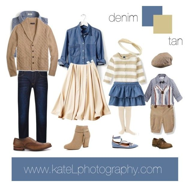 Tan/denim outfit inspiration: what to wear for a family photo session in the fall. Created by Kate Lemmon, www.kateLphotography.com