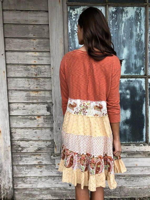 "Romantic/Tattered/Rustic/Boho/Gypsy upper part is made with cotton and has added trim along front lower part is made with cotton and has two added pockets Size-small medium Chest-42"" has stretch Hips-50"" Length-36"""