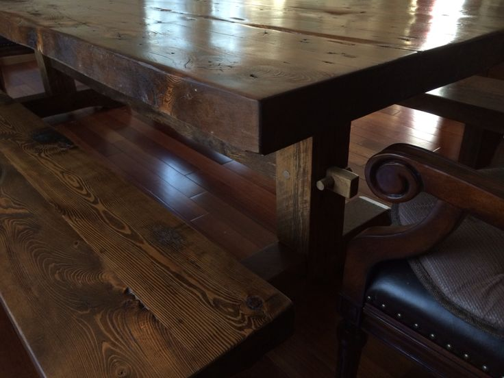 Dark Colored Reclaimed Wood Dining Table Made From 120 Year Old Hemlock And  Benches.