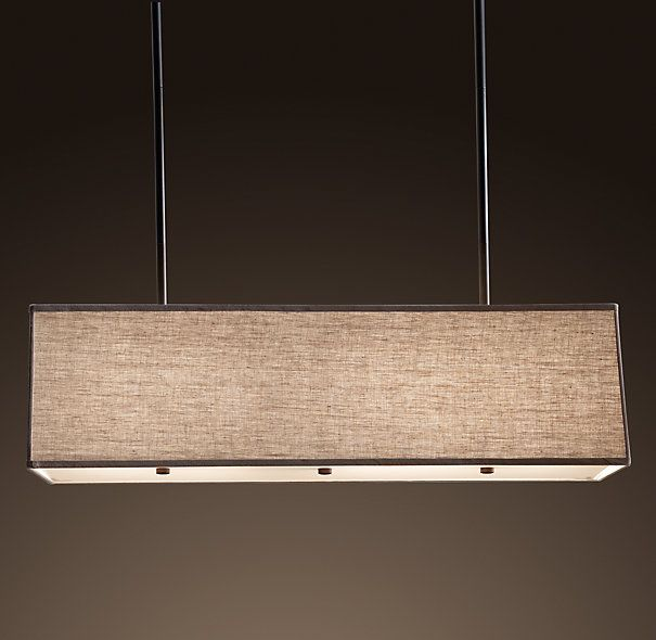 Chandelier - Linear pendant chandelier - contemporary sleek design with linen rectangular shade -  ideal over your dining table or kitchen island....elegant!