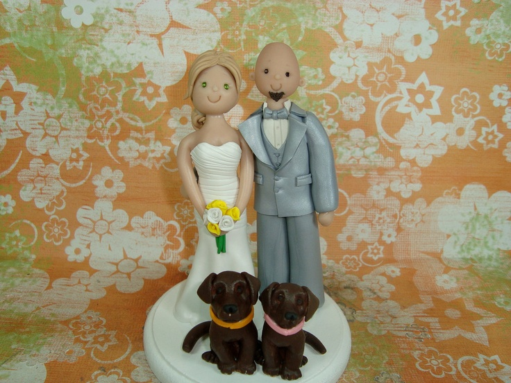 Personalized Bride And Groom With Pets Wedding Cake Topper. $130.00, via Etsy.