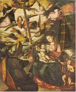"""El comienzo de la escuela cusqueña tiene a dos personalidades indígenas. Diego Quispe Tito y Basilio de Santa Cruz Pumacallao. Diego Quispe Tito (1611-1681) se inicia como pintor antes del terremoto de 1650. Una de sus primeras obras es la """"Visión de la Cruz"""" (1631).  Una composición en que lo celestial y lo terrenal se incorporan a una misma realidad, sin que esto implique el racionalismo propio de la perspectiva espacial unitaria de origen occidental."""
