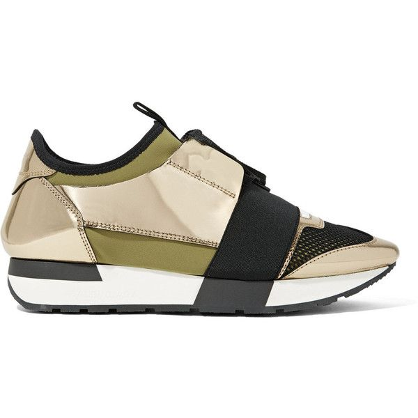 Balenciaga Race Runner metallic leather, mesh and neoprene sneakers ($795) ❤ liked on Polyvore featuring shoes, sneakers, gold, leather lace up sneakers, metallic shoes, leather lace up shoes, hidden wedge shoes and lacing sneakers